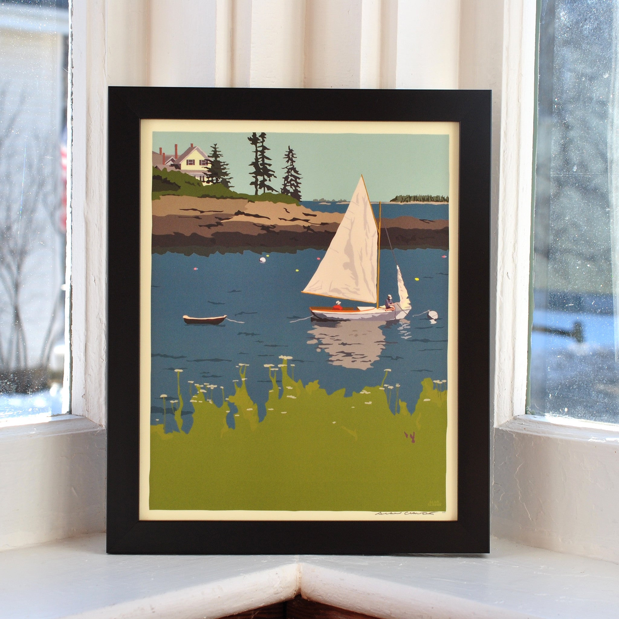 "Sailing Long Cove Art Print 8"" x 10"" Framed Wall Poster - Maine"