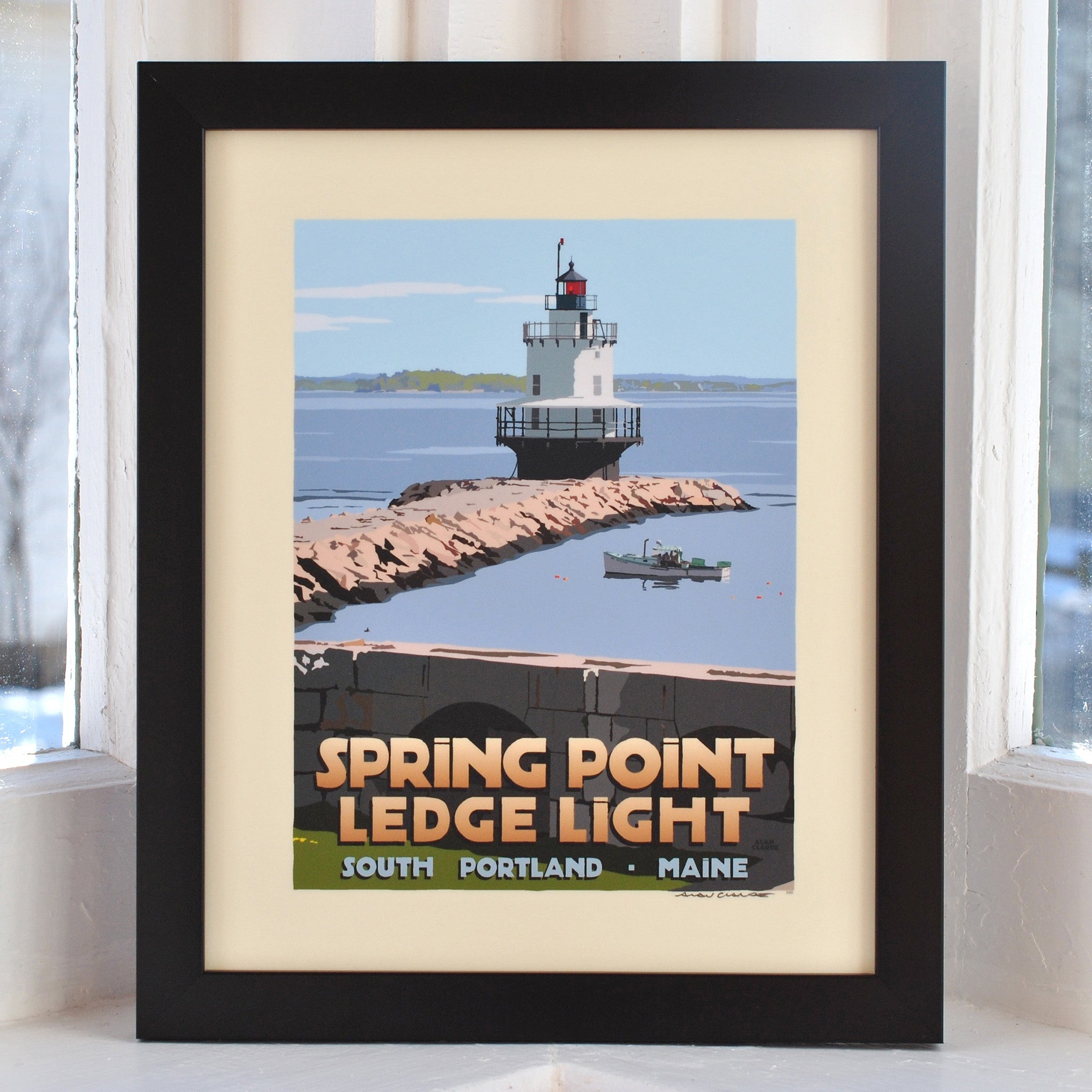 "Spring Point Ledge Light Art Print 8"" x 10"" Framed Travel Poster - Maine"