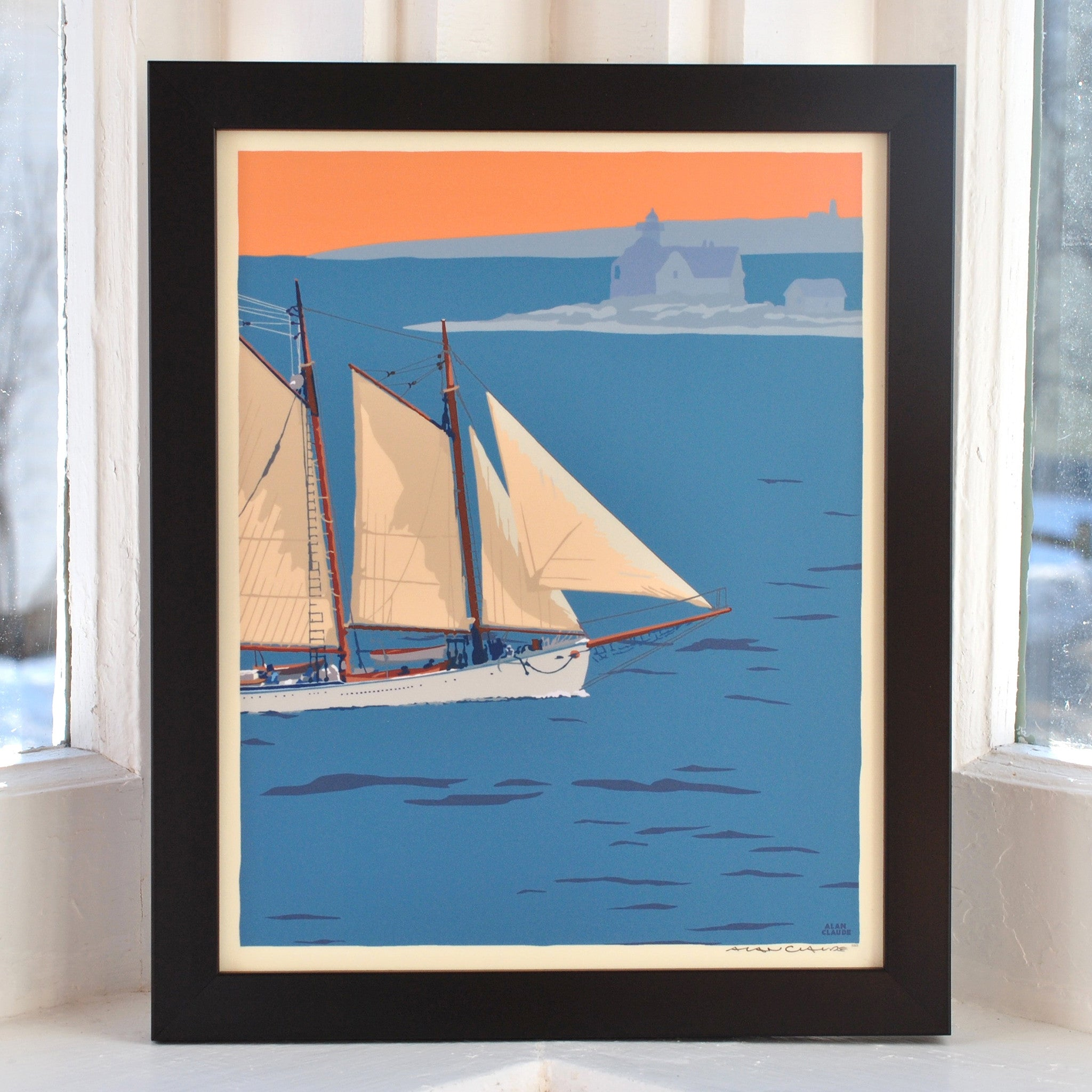 "Schooner at the Cuckolds Art Print 8"" x 10"" Framed Wall Poster - Maine"