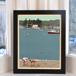 "Golden Retriever at Beach ""Go Fetch"" Art Print 8"" x 10"" Framed Wall Poster - Maine"