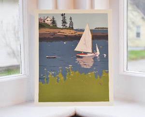 "Sailing Long Cove Art Print 8"" x 10"" Wall Poster - Maine"
