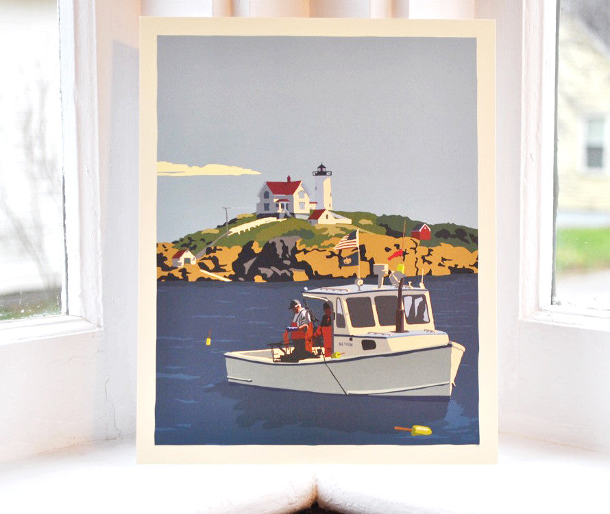 "Lobstering at the Nubble Art Print 8"" x 10"" Wall Poster - Maine"