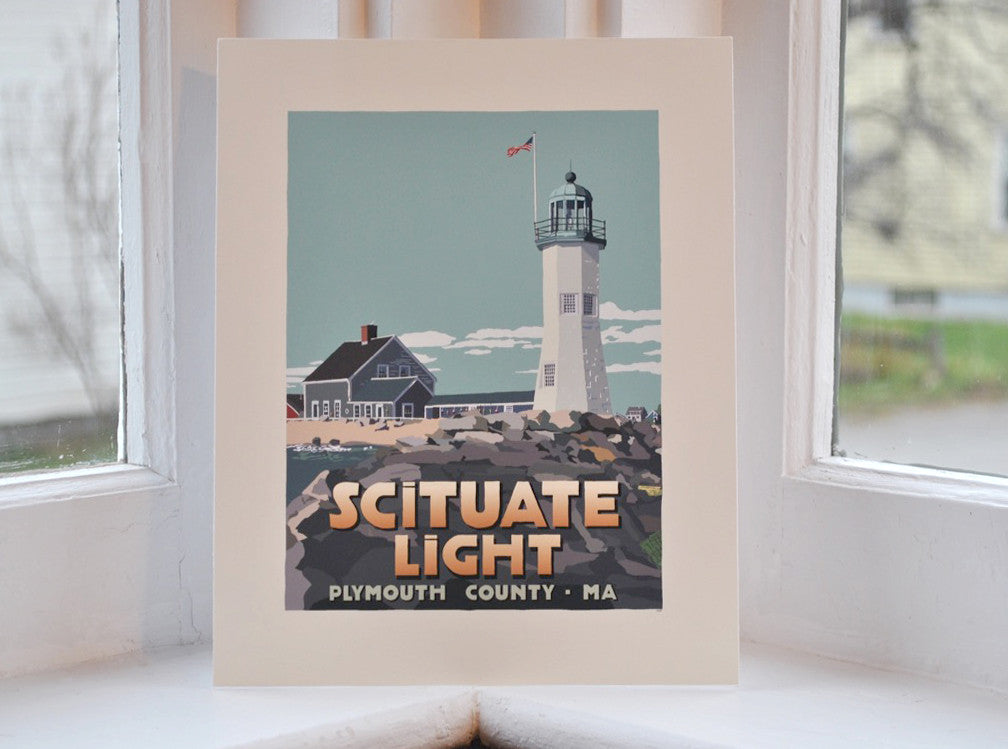 "Scituate Light Art Print 8"" x 10"" Travel Poster - Massachusetts"