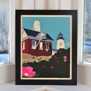 "Pemaquid Point Light Bell Art Print 8"" x 10"" Framed Wall Poster - Maine"