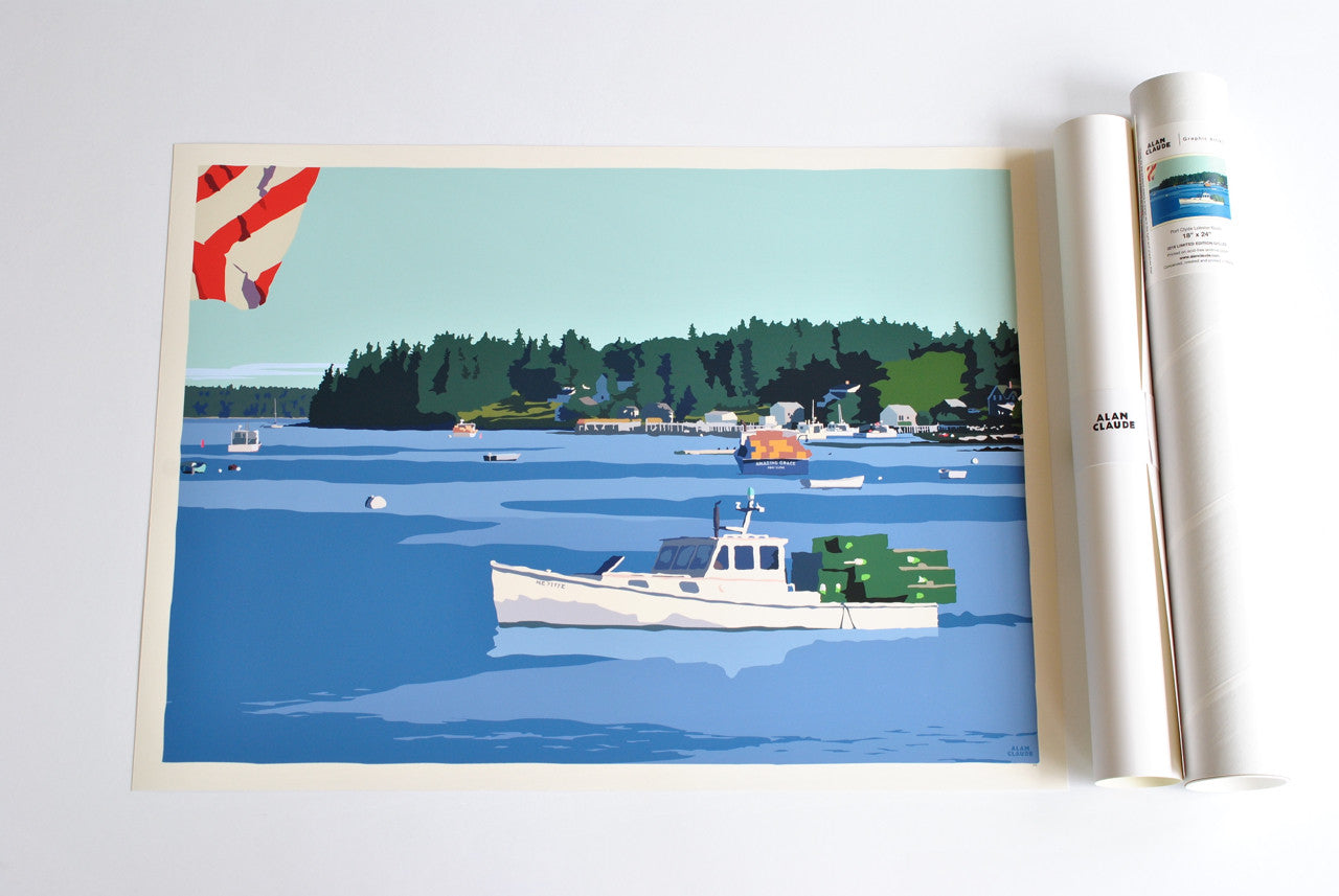 "Port Clyde Lobster Boat Art Print 18"" x 24"" Wall Poster - Maine"