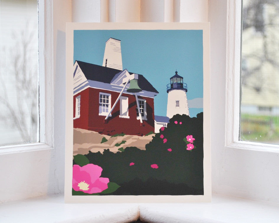"Pemaquid Point Light Bell Art Print 8"" x 10"" Wall Poster - Maine"