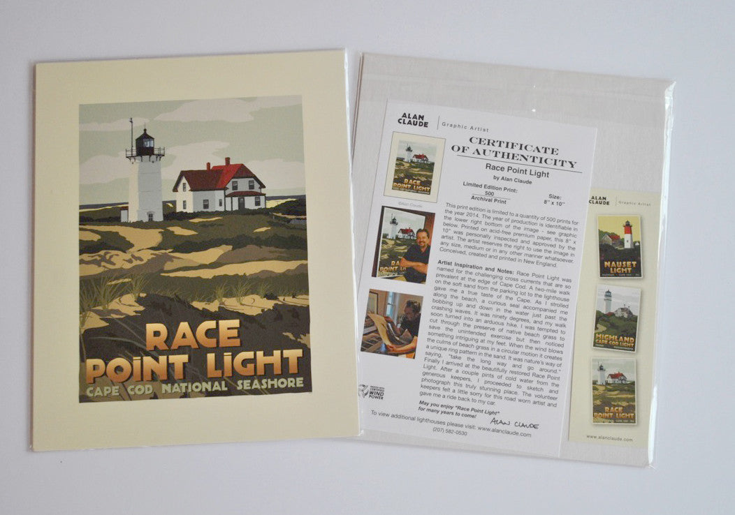 "Race Point Light Art Print 8"" x 10"" Travel Poster - Massachusetts"
