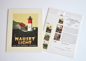 "Nauset Light Art Print 8"" x 10"" Travel Poster - Massachusetts"