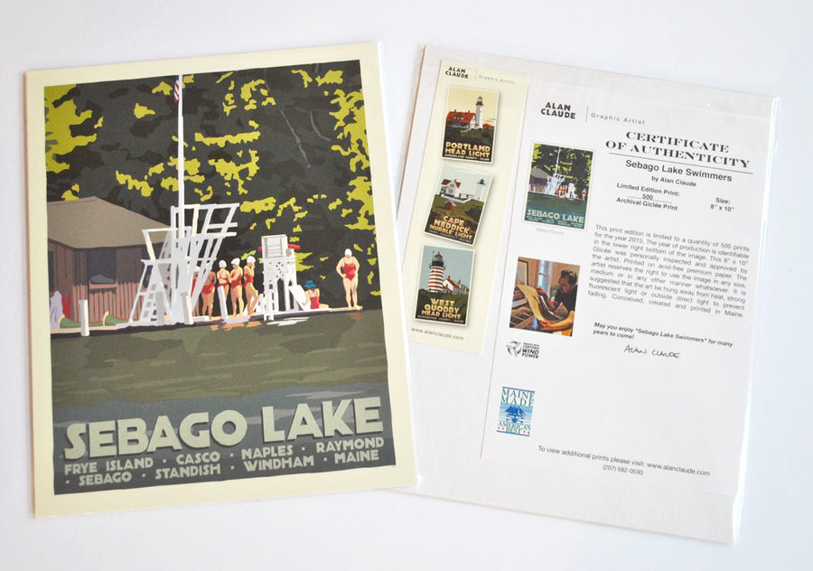 "Sebago Lake Swimmers Art Print 8"" x 10"" Travel Poster - Maine"