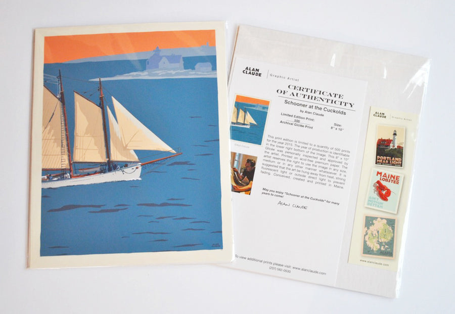 "Schooner at the Cuckolds Art Print 8"" x 10"" Wall Poster - Maine"