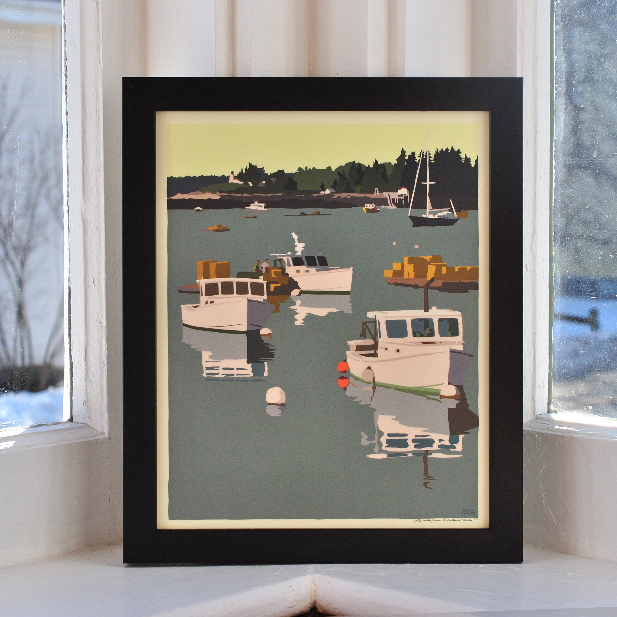 "Lobster Boats on a Sunday Morning Art Print 8"" x 10"" Framed Wall Poster - Maine"
