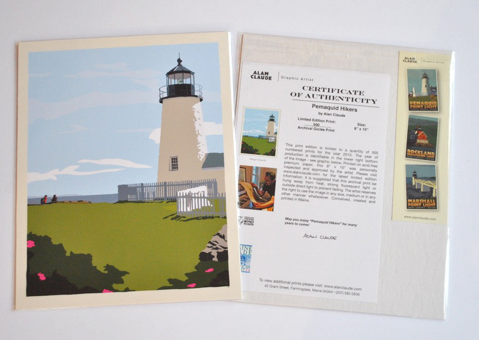 "Pemaquid Point Light Hikers Art Print 8"" x 10"" Wall Poster - Maine"