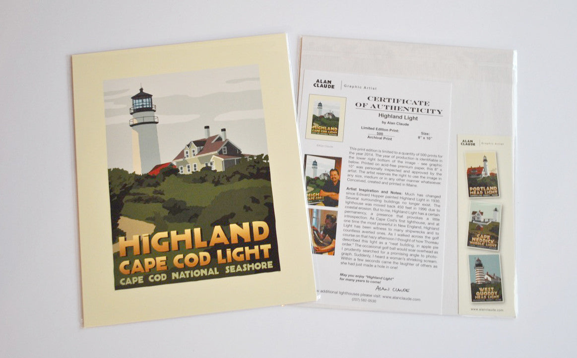 "Highland Light Art Print 8"" x 10"" Travel Poster - Massachusetts"