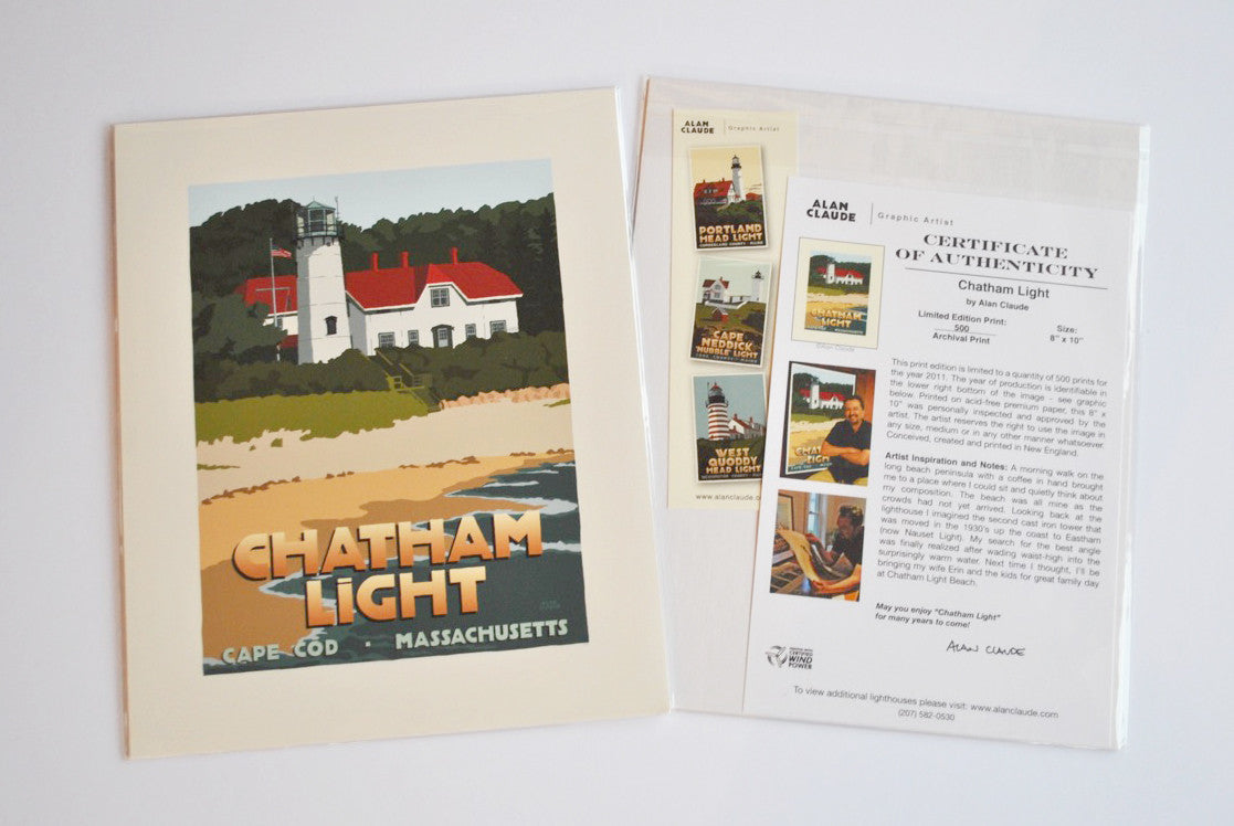 "Chatham Light Art Print 8"" x 10"" Travel Poster - Massachusetts"