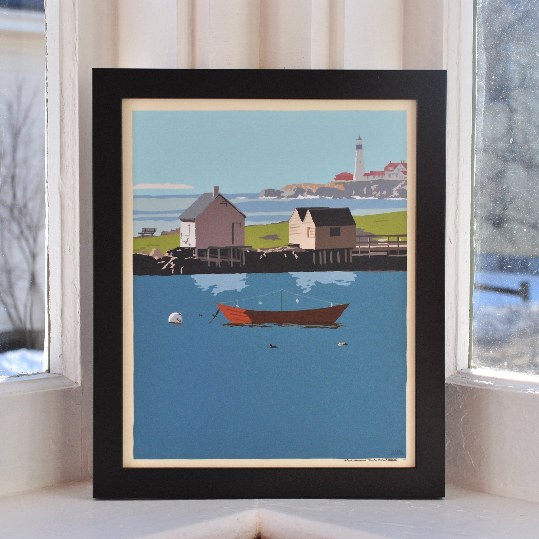 "Willard Beach Art Print 8"" x 10"" Framed Wall Poster - Maine"