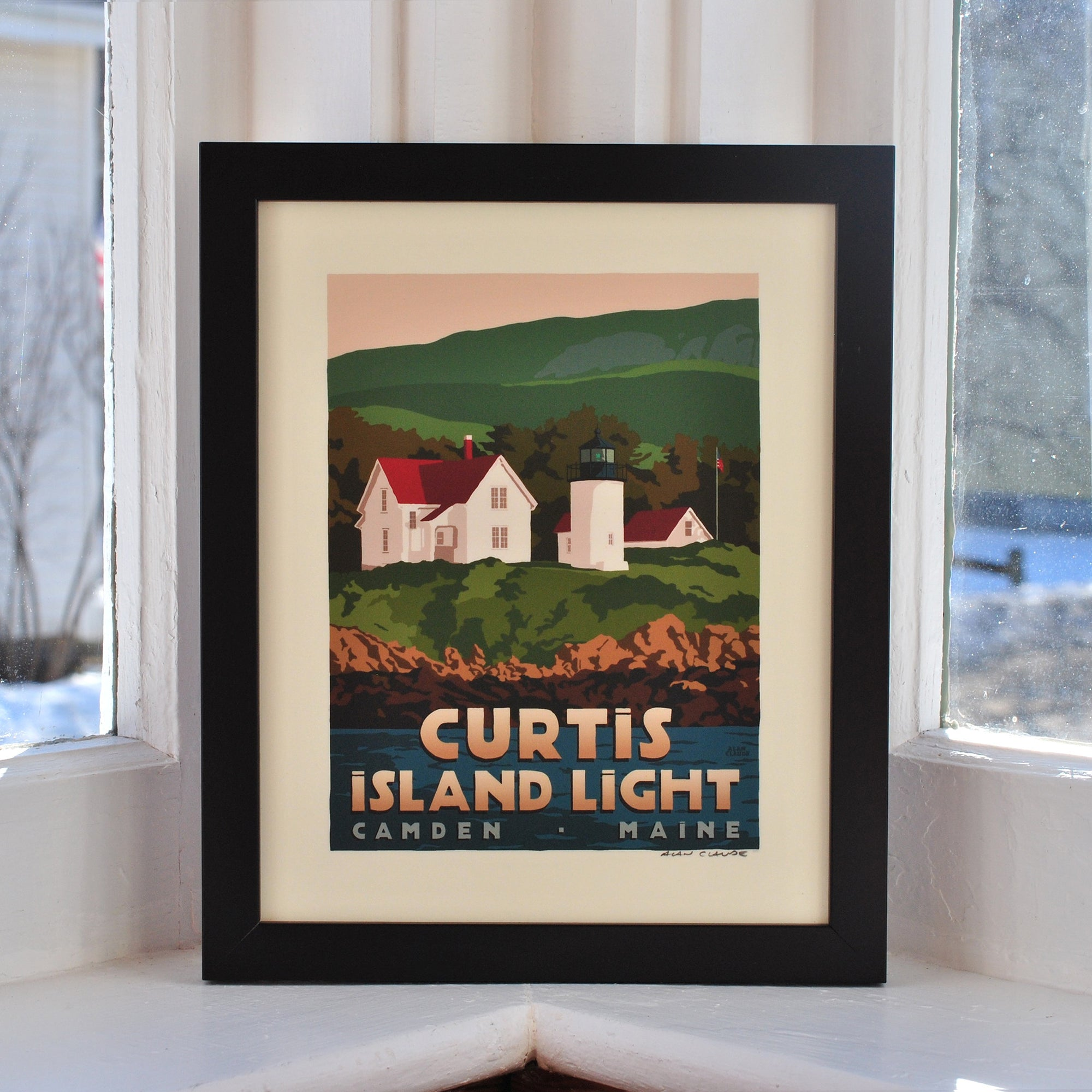 "Curtis Island Light Art Print 8"" x 10"" Framed Travel Poster - Maine"