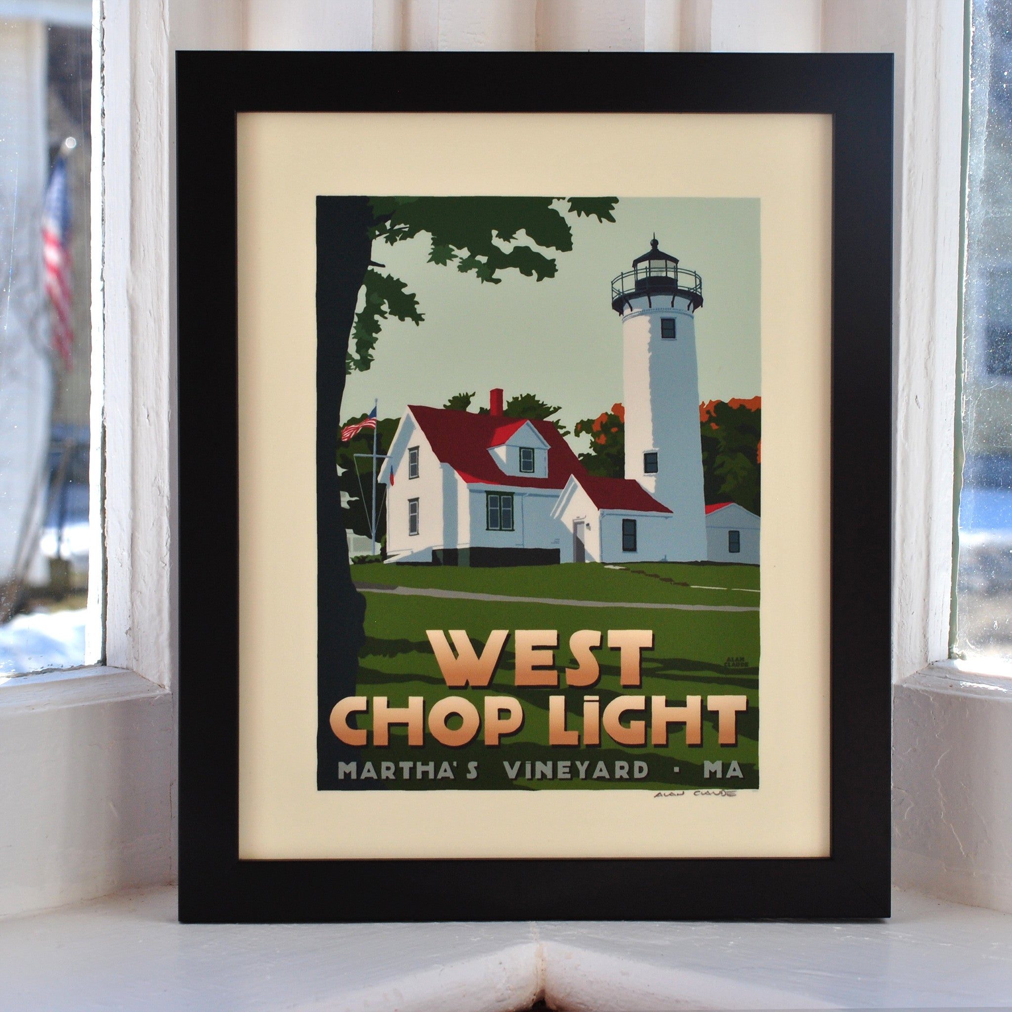 "West Chop Light Art Print 8"" x 10"" Framed Travel Poster - Massachusetts"