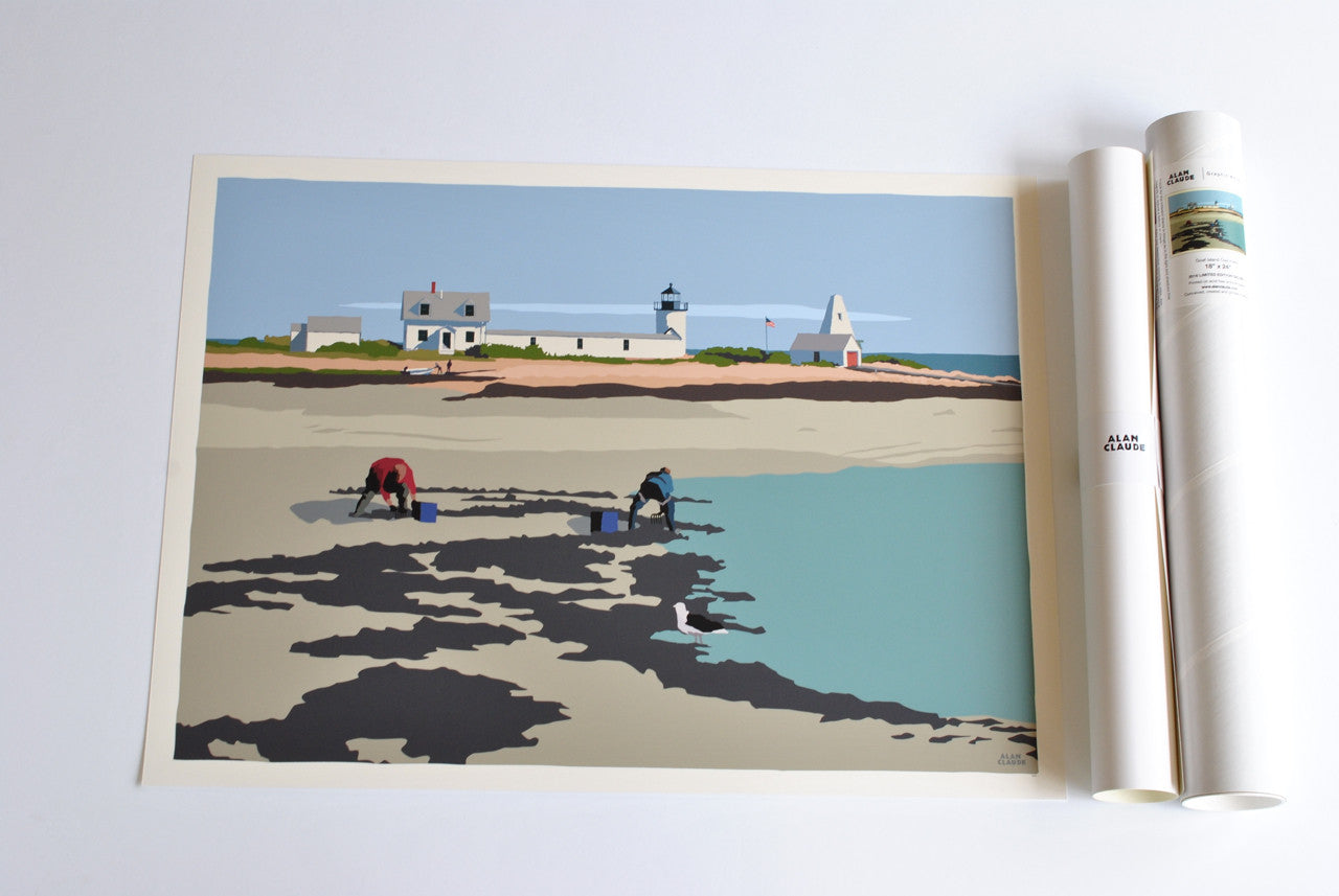 "Goat Island Clammers Art Print 18"" x 24"" Wall Poster - Maine"