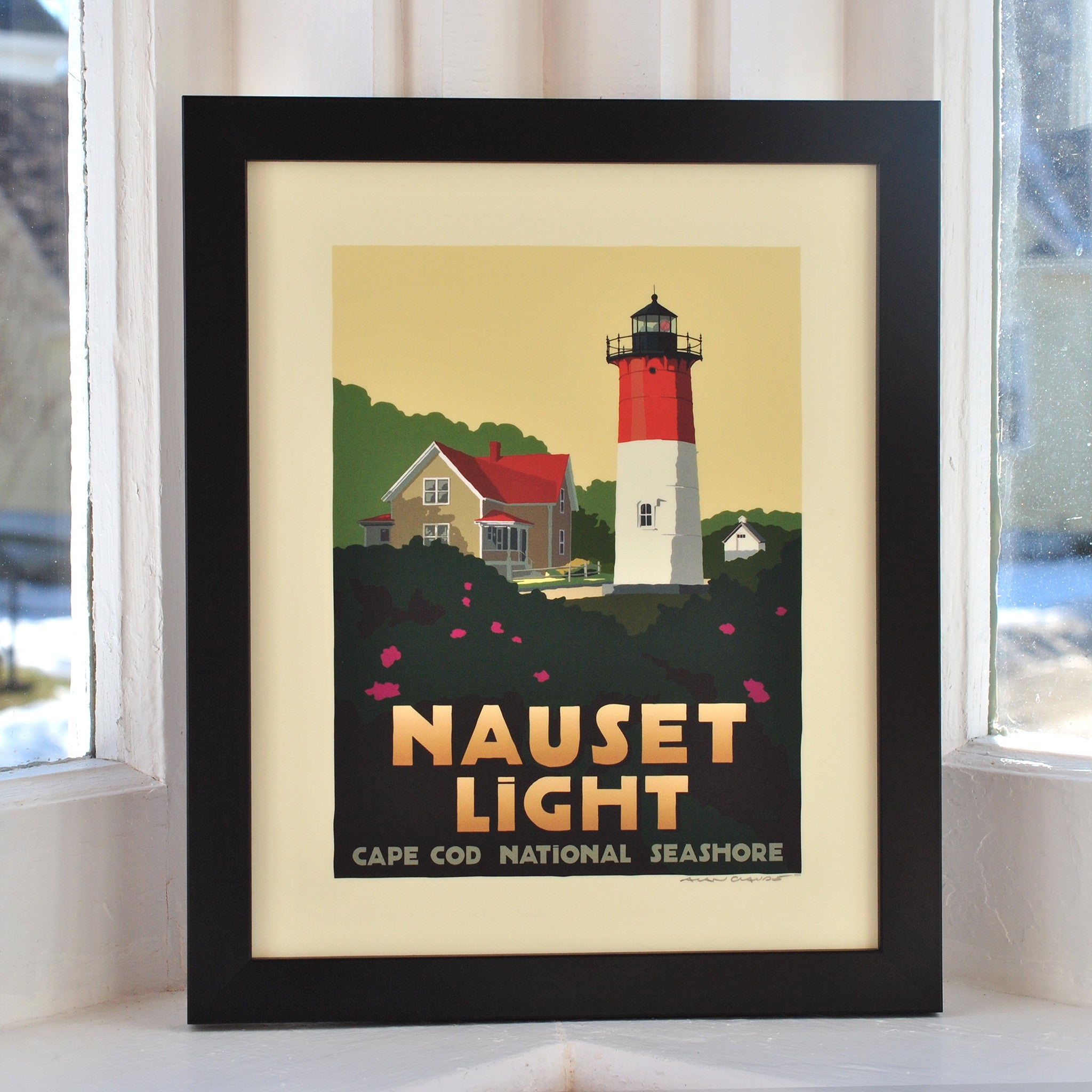 "Nauset Light Art Print 8"" x 10"" Framed Travel Poster - Massachusetts"