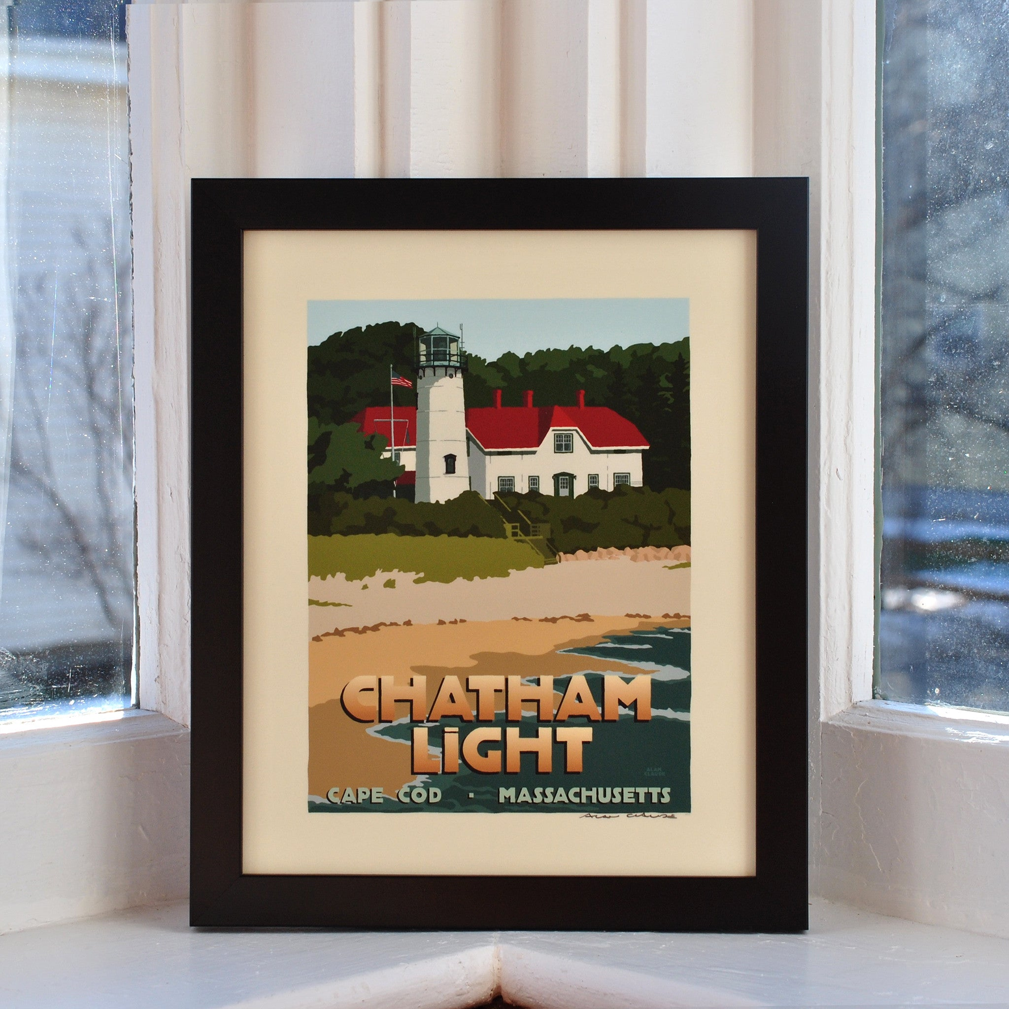"Chatham Light Art Print 8"" x 10"" Framed Travel Poster - Massachusetts"
