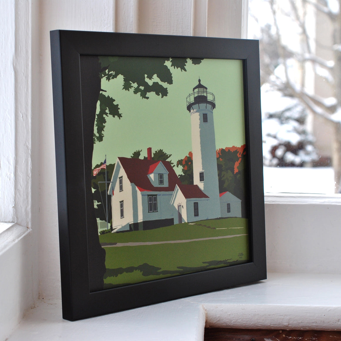 "West Chop Light Art Print 8"" x 8"" Framed"