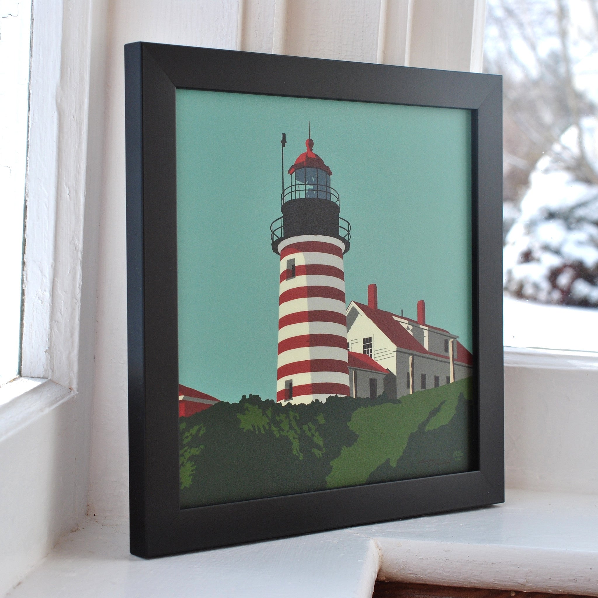 "West Quoddy Head Light Art Print 8"" x 8"" Framed"