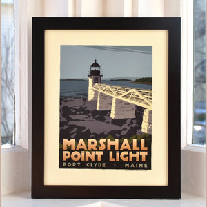 "Marshall Point Light Art Print 8"" x 10"" Framed Travel Poster - Maine"