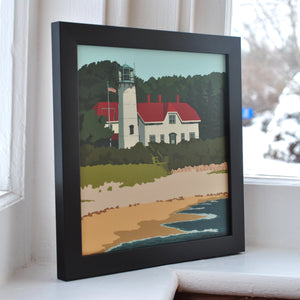 "Chatham Light Art Print 8"" x 8"" Framed"