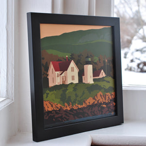 "Curtis Island Light Art Print 8"" x 8"" Framed"