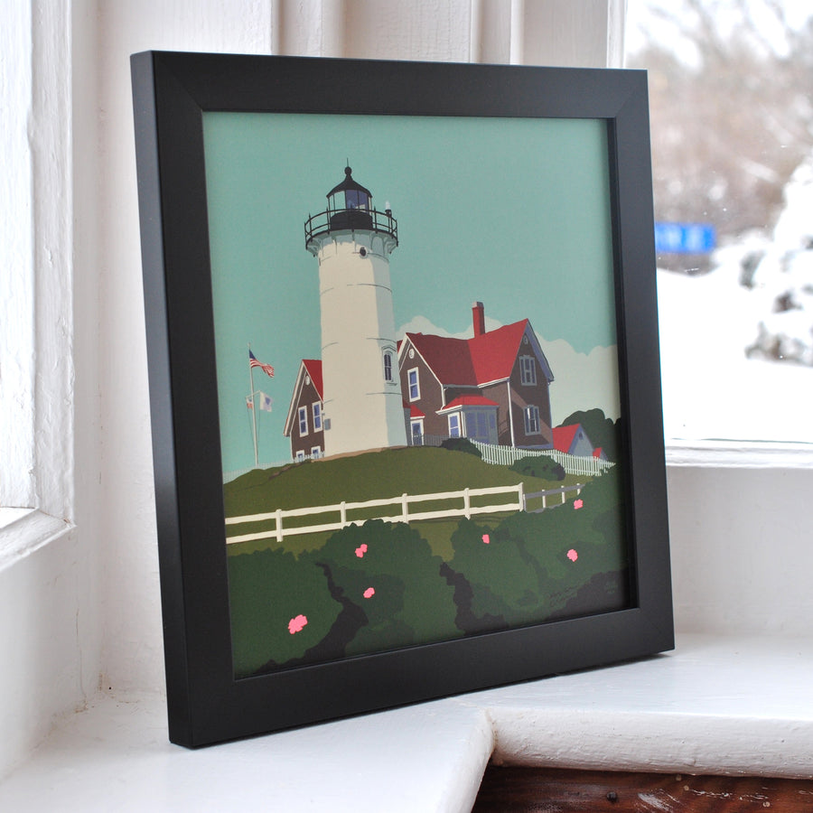 "Nobska Point Light Art Print 8"" x 8"" Framed"