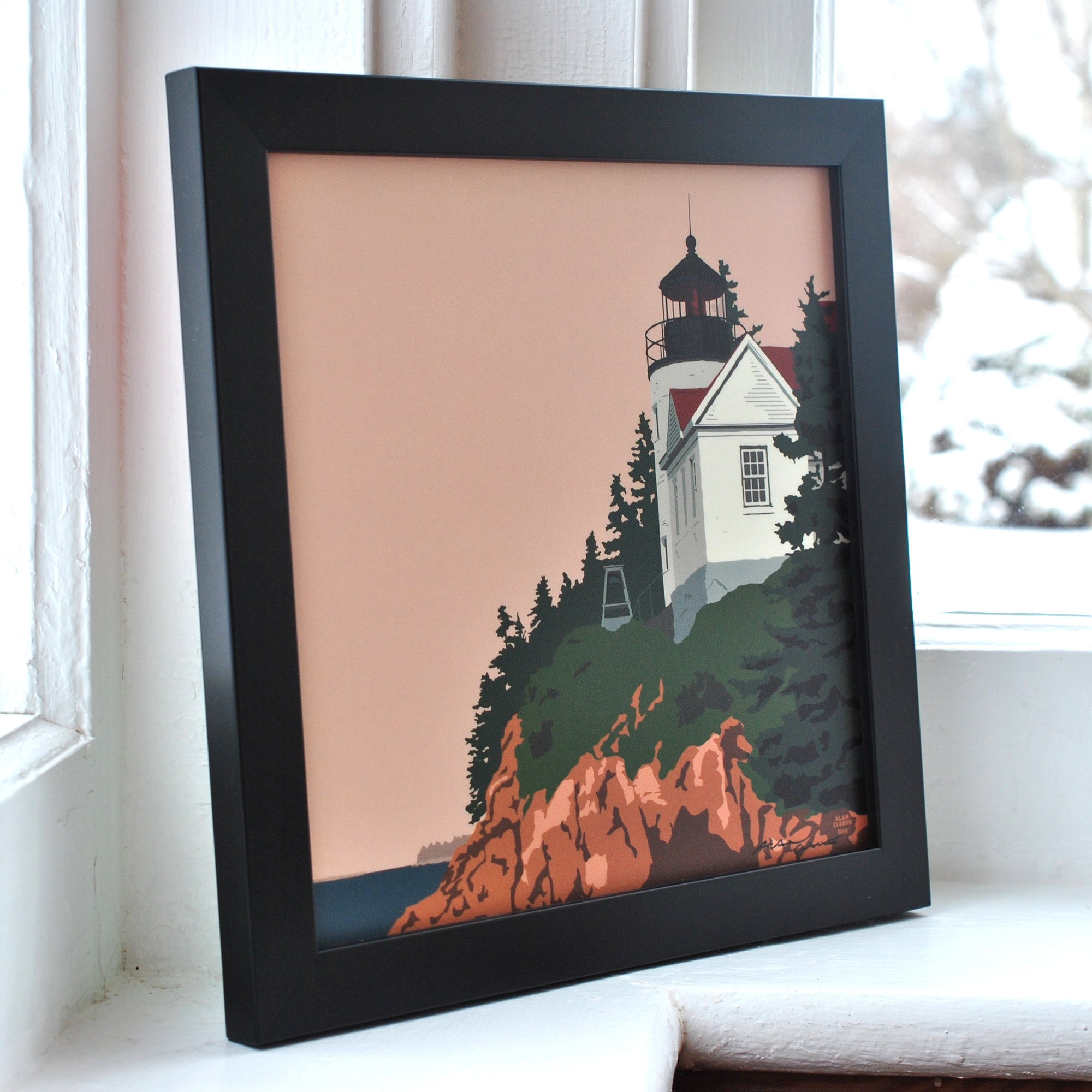 "Bass Harbor Head Light Art Print 8"" x 8"" Framed"