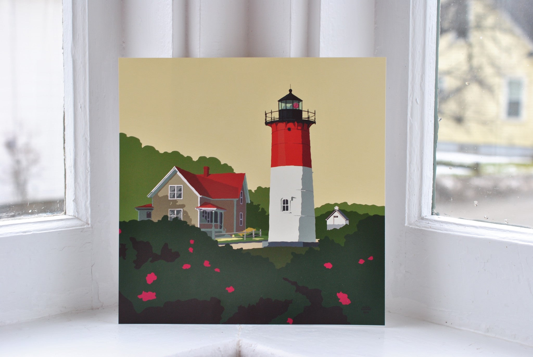 "Nauset Light Art Print 8"" x 8"" Square"