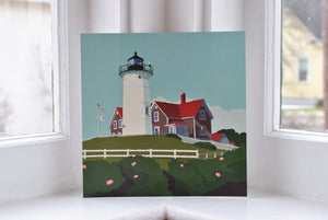"Nobska Point Light Art Print 8"" x 8"" Square"