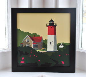 "Nauset Light Art Print 8"" x 8"" Framed"