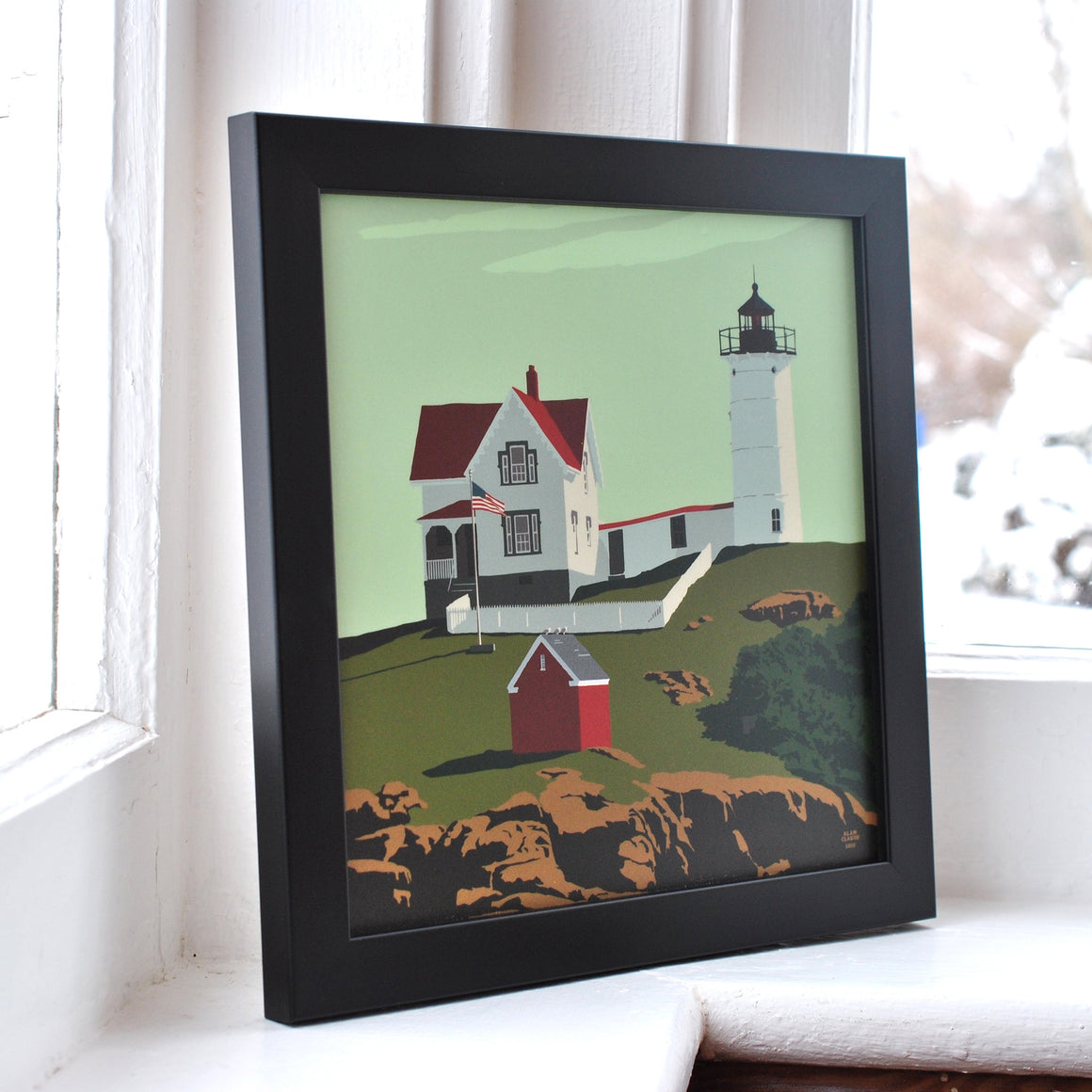 "Cape Neddick Nubble Light Art Print 8"" x 8"" Framed"