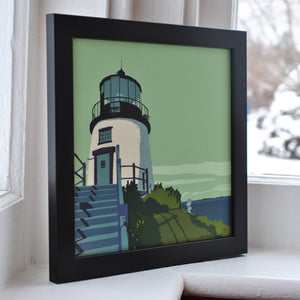 "Owls Head Light Art Print 8"" x 8"" Framed"