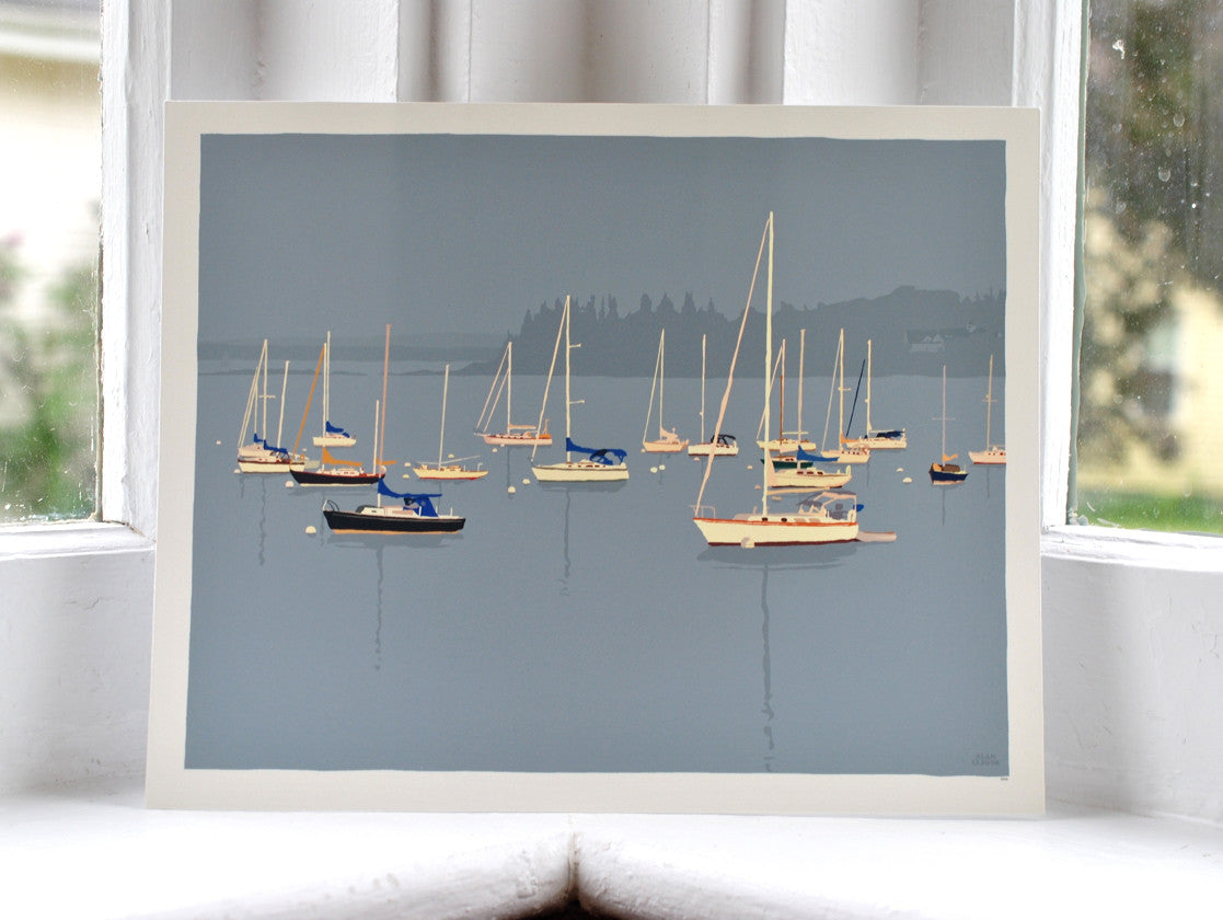 "Sailboats in Rockland Harbor Art Print 8"" x 10"" Wall Poster - Maine"