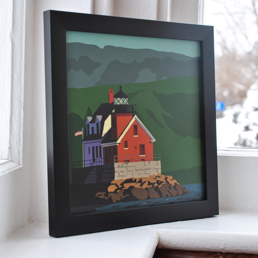"Rockland Breakwater Light Art Print 8"" x 8"" Framed"