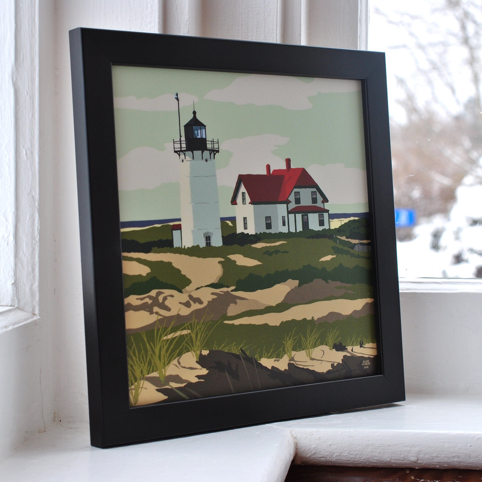 "Race Point Light Art Print 8"" x 8"" Framed"