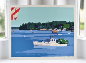 "Port Clyde Lobster Boat Art Print 8"" x 10"" Wall Poster - Maine"