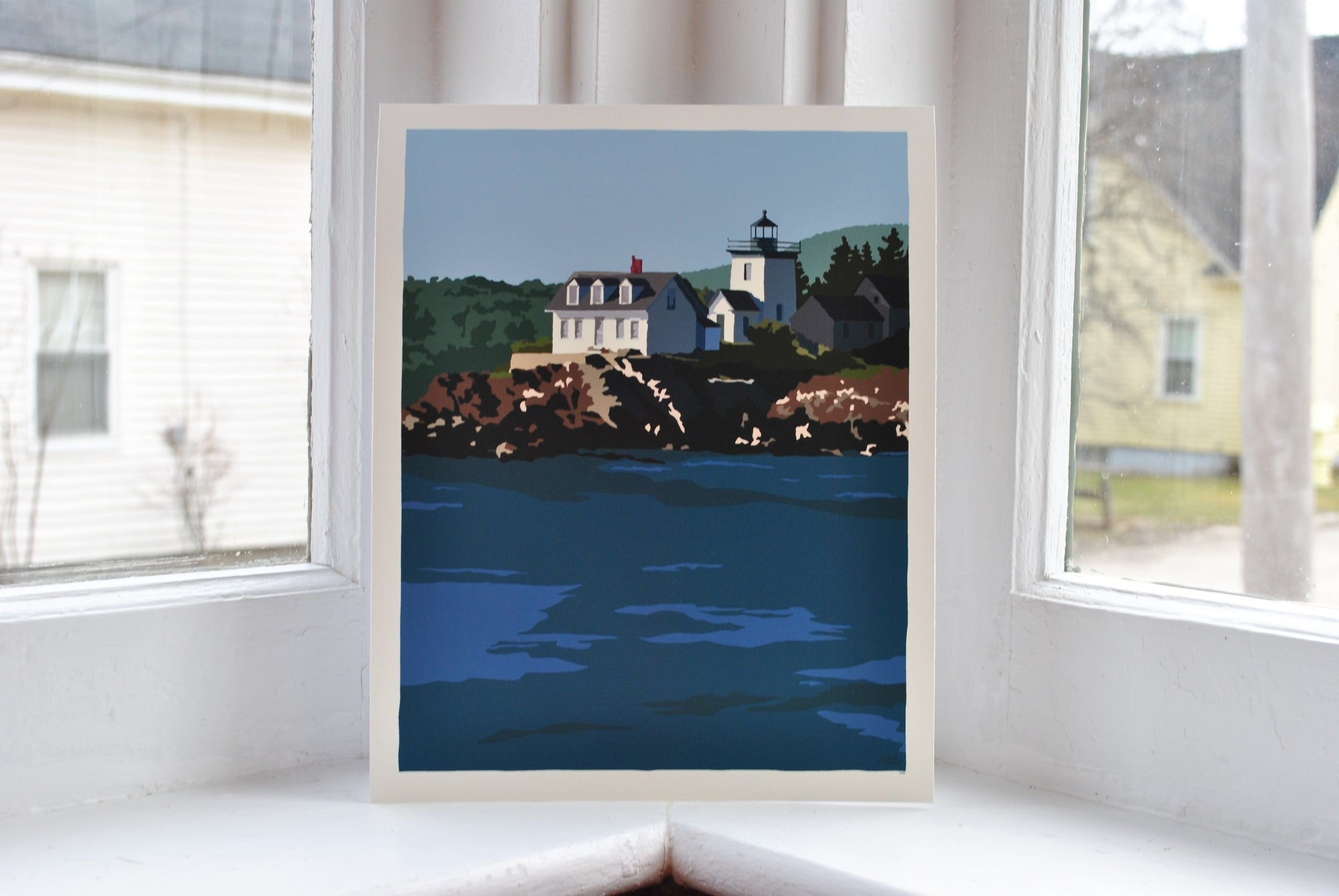 "Indian Island Light Art Print 8"" x 10"" Wall Poster - Maine"