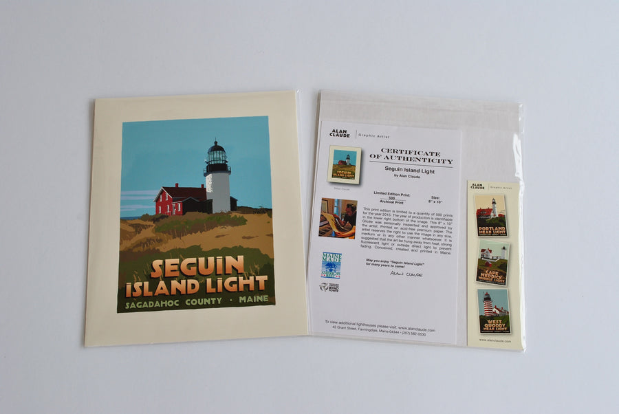 "Seguin Island Light Art Print 8"" x 10"" Travel Poster - Maine"