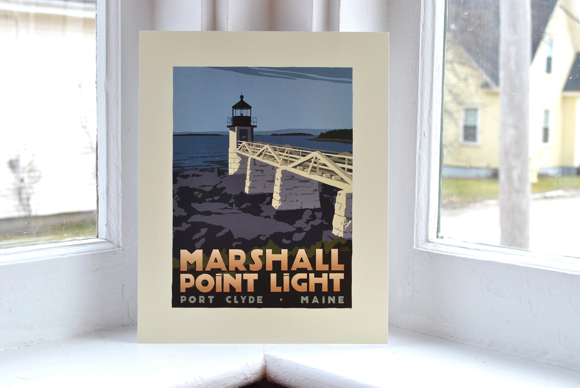 "Marshall Point Light Art Print 8"" x 10"" Travel Poster - Maine"