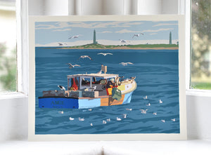 "Lobstering at Cape Ann Art Print 8"" x 10"" Wall Poster - Massachusetts"