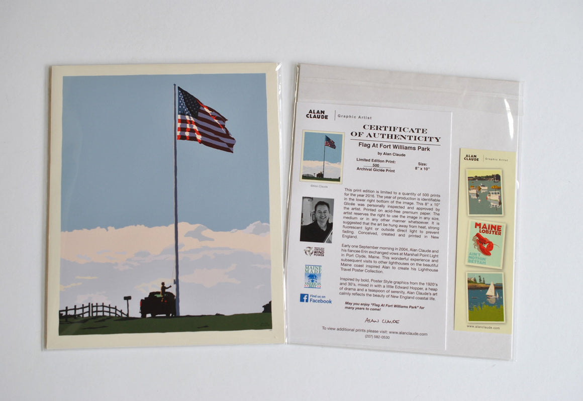 "Flag at Fort Williams Art Print 8"" x 10"" Wall Poster - Maine"