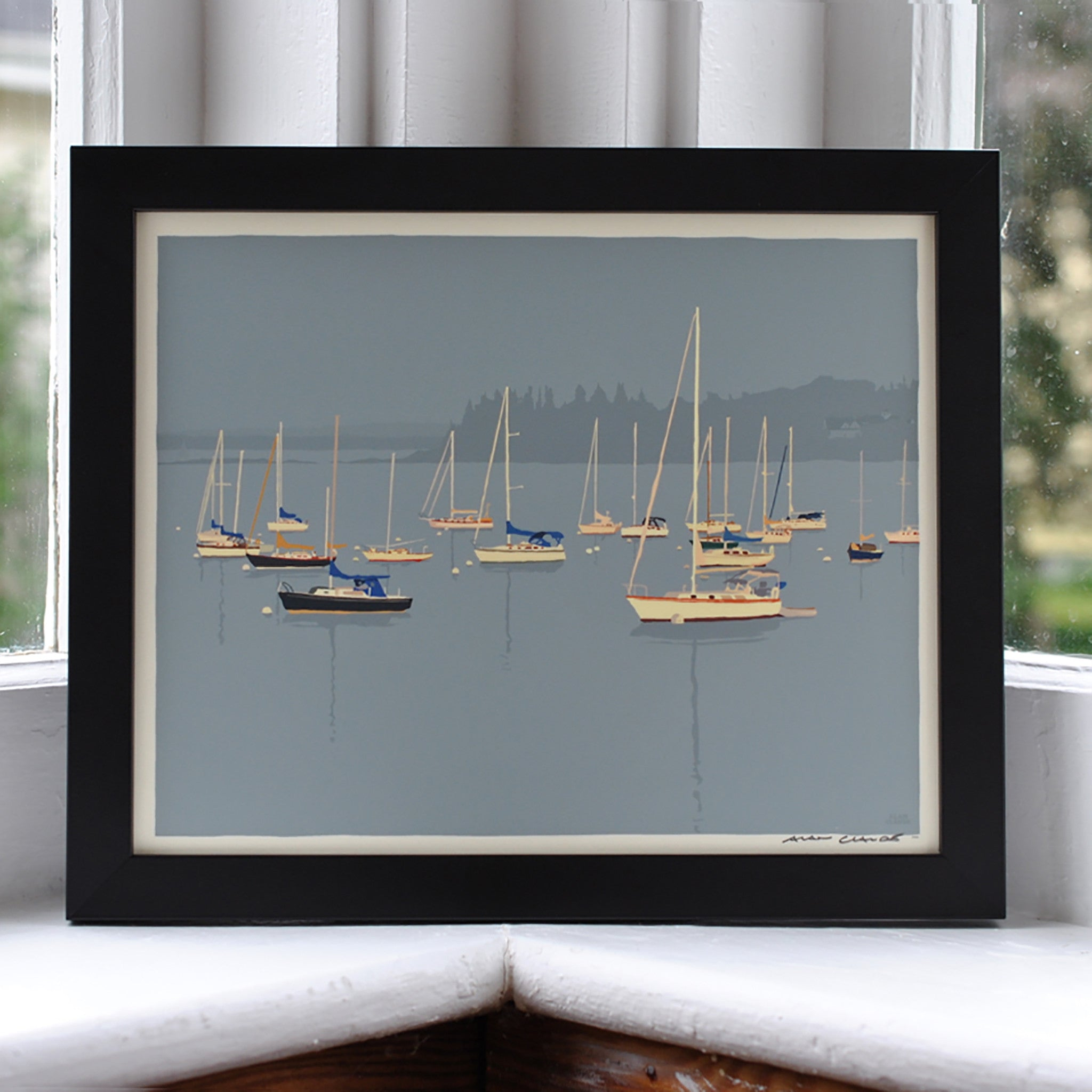 "Sailboats in Rockland Harbor Art Print 8"" x 10"" Framed Wall Poster - Maine"