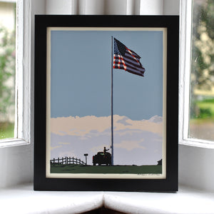 "Flag at Fort Williams Art Print 8"" x 10"" Framed Wall Poster - Maine"