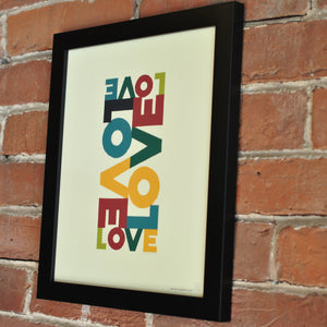 "Love Energy - Retro Art Print 8"" x 10"" Framed Poster"