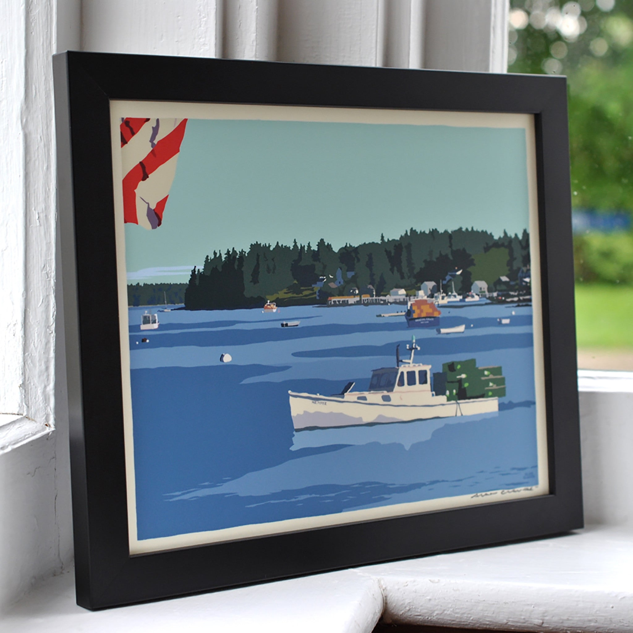 "Port Clyde Lobster Boat Art Print 8"" x 10"" Framed Wall Poster - Maine"