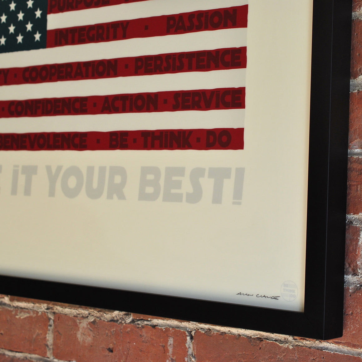 "Give It Your Best Flag Art Print 18"" x 24"" Framed"